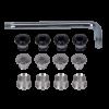 Schraubenset + Schraubenschlüssel Silber, 12-teilig (3-fach) MTB